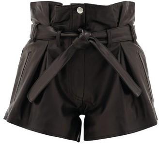 ATTICO Pleated High-rise Leather Shorts - Black