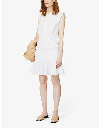 Veronica Beard Ruched cotton shirt-dress