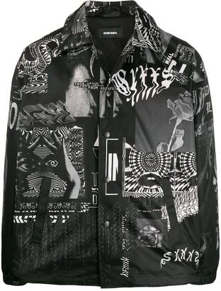 Diesel Abstract-Print Shirt Jacket