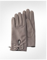 Women's Powder Front Bow Leather Gloves