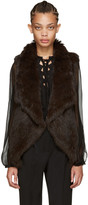Yves Salomon Brown Knit Fur Vest