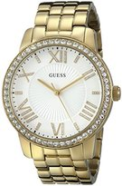 GUESS Women's U0329L2 Dazzling Oversized Gold-Tone Watch with Roman Numerals & Genuine Crystals