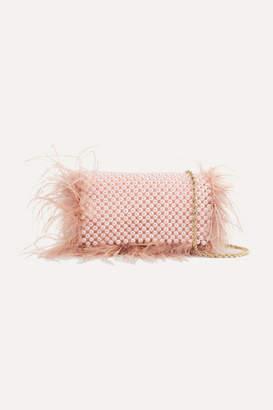 Loeffler Randall Mimi Feather-trimmed Beaded Satin Shoulder Bag - Pink
