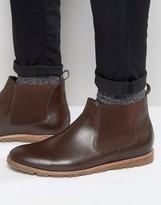 Frank Wright Chelsea Boots In Brown Leather