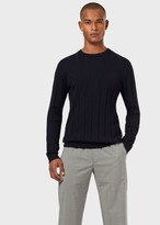Emporio Armani Ribbed Sweater With Eagle Inlay