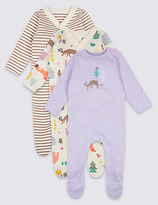 Marks and Spencer 3 Pack Pure Cotton Woodland Sleepsuits