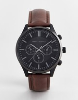 Asos Design DESIGN watch with crocodile emboss strap and contrast black case