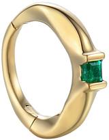 Pamela Love 6MM Floating Emerald Single Huggie Hoop Earring - Yellow Gold