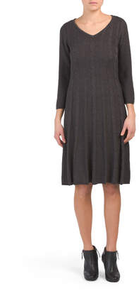 V-neck Cable Knit Fit Flare Dress