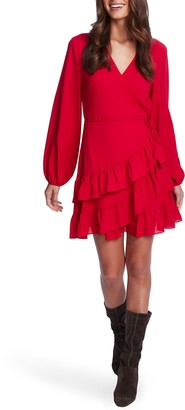 1 STATE Tiered Ruffle Long Sleeve Wrap Dress