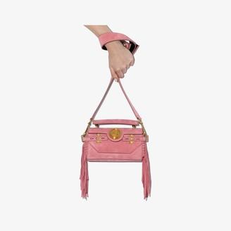 Balmain pink B-Buzz fringed suede shoulder bag