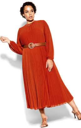 City Chic Love Pleat Dress - rust
