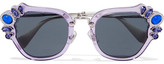 Miu Miu Crystal-embellished Cat-eye Acetate Sunglasses - Lilac