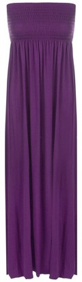 Purple Hanger New Ladies Long Boob Tube Bandeau Strapless Womens Elasticated Jersey Summer Maxi Dress Cerise Fuschia Size 12 14