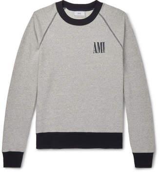 Ami Logo-Print Melange Fleece-Back Cotton-Jersey Sweatshirt