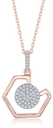 La Preciosa 925 Sterling Silver Rose Gold Plated High Polished Geometric and Micro Pave Disc 18?? Designer Pendant Necklace