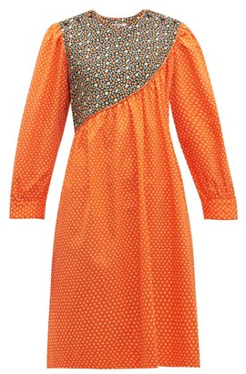 Batsheva Daisy & Strawberry-print Asymmetric Cotton Dress - Womens - Red Multi