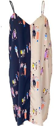 One Imaginary Girl Colorblock Silk Slip Dress In Social Distance Print