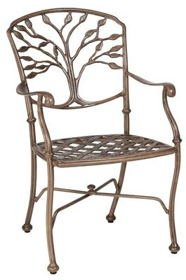 """Woodard Heritage Patio Dining Chair with Cushions Woodard Cushion Color: No Cushion, Frame Color: Textured Black, Seat Height: 17.5"""""""