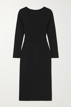 Dolce & Gabbana Bow-detailed Wool-crepe Dress - Black