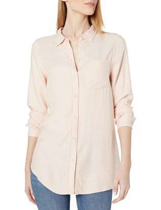 Daily Ritual Amazon Brand Women's Soft Rayon Slub Twill Long-Sleeve Button-Front Tunic Charcoal/Camel Abstract Plaid Medium