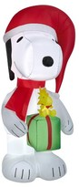 Peanuts 6ft Inflatable Snoopy Holding Present with Woodstock