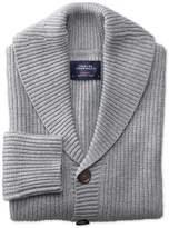 Charles Tyrwhitt Light Grey Rib Shawl Collar Wool Cardigan Size Medium