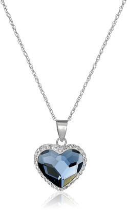 Amazon Collection Sterling Silver Swarovski Elements Two Tone Heart Pendant Necklace