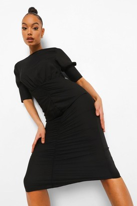 boohoo Ruched Puff Sleeve Midaxi Dress