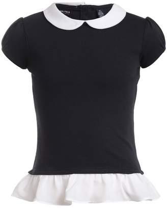 Nautica Short Sleeve Interlock Uniform Twofer Top (Big Girls)