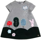 Simonetta Cotton Sweatshirt Dress W/ Velvet