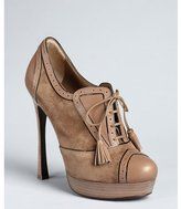 Yves Saint Laurent taupe leather and suede lace up oxford stilettos