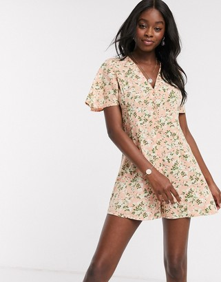 Miss Selfridge button front playsuit in pink floral