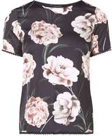 Black Floral Printed Pom Pom T-Shirt