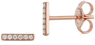 Nephora 14K Rose Gold Diamond Small Bar Studs