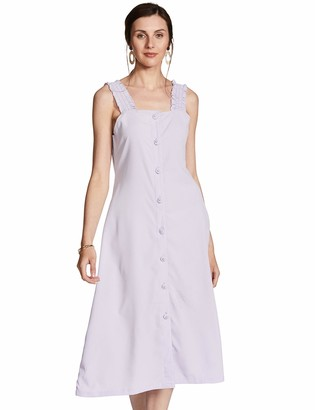Oasis Wild Women's Solid Square Neck Dress with Button and Strap Detaling (X-Small