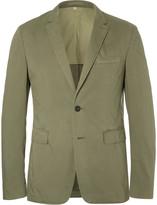 Burberry Green Slim-Fit Garment-Dyed Stretch-Cotton Twill Blazer