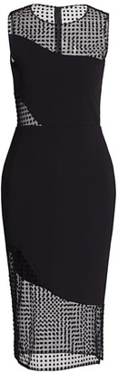 HANEY Sleeveless Illusion Dot Bodycon Dress