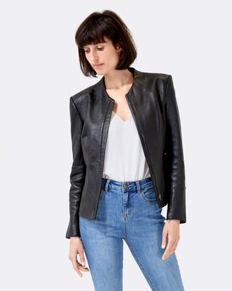 SABA Women's Coats & Jackets - Lilia Leather Jacket - Size One Size, 10 at The Iconic