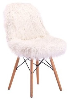 Mercer41 Engles Fuzzy Side Chair Upholstery Color: White