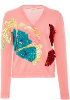 DELPOZO Embroidered Intarsia Knit