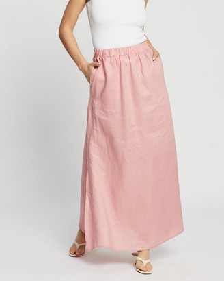 AERE - Women's Pink Maxi skirts - Split Maxi Skirt - Size 16 at The Iconic