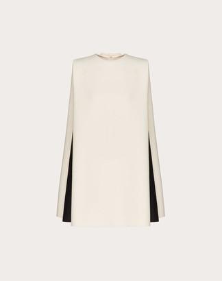 Valentino Short Crepe Couture Dress Women Ivory/black Silk 35%, Virgin Wool 65% 38