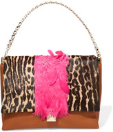 Valentino Feather-trimmed leather and leopard-print calf hair shoulder bag