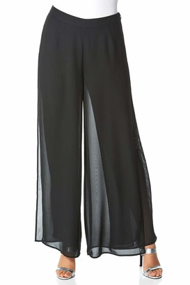 Roman Originals Women Diamante Embellished Side Split Chiffon Trousers - Ladies Wide Leg Palazzo Smart Evening Christmas New Years Party Formal Sparkle Stripe Detail Pants - Black - Size 12