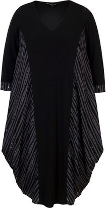 Chesca Holey Stripe and Plain Jersey Drape Dress