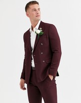 Asos DESIGN wedding skinny double breasted suit jacket in micro texture in burgundy