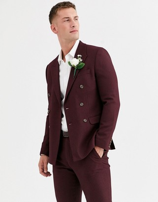 Asos Design DESIGN wedding skinny double breasted suit jacket in micro texture in burgundy-Red