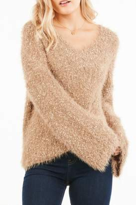 Very J Bell Sleeve Nubby Knit Sweater