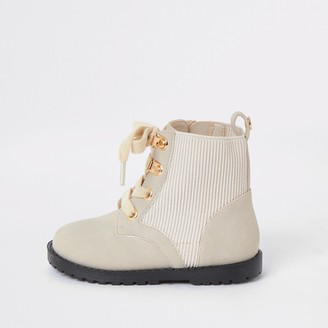 River Island Mini girls Cream ribbed ankle boots
